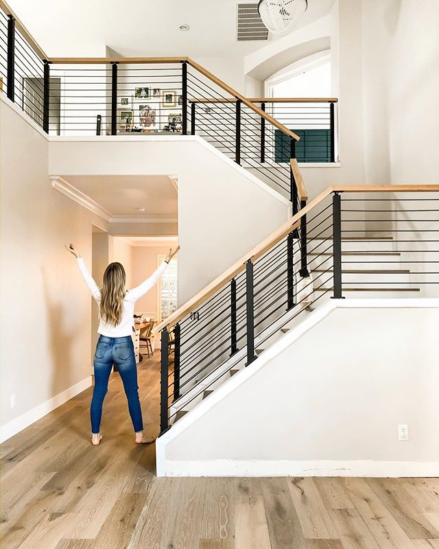 Wooden Stairs With Painted Stripes Updating Interior: DIY A Cement Look Fireplace For Less Than $100