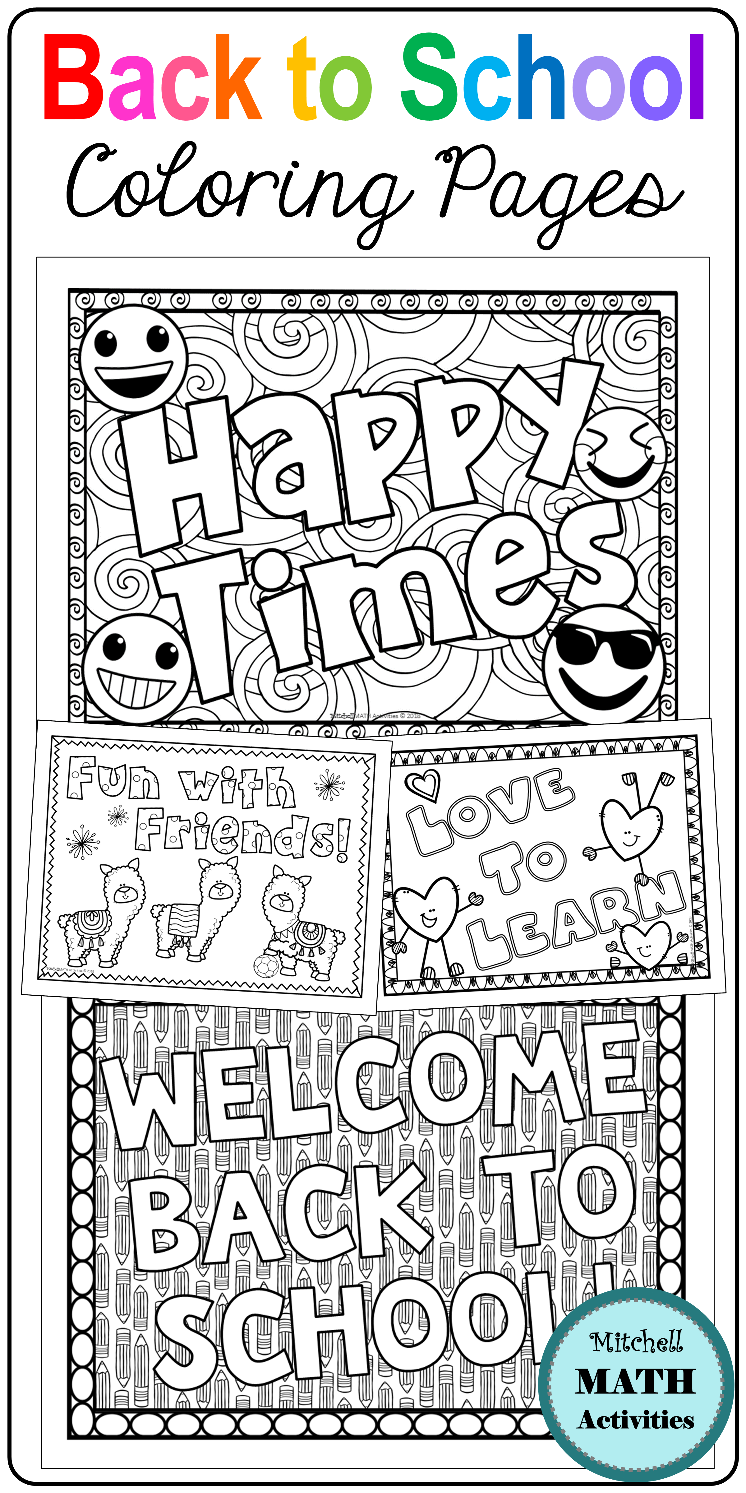 Back To School Coloring Pages By Mitchell Math Activities School Coloring Pages School Book Covers Back To School