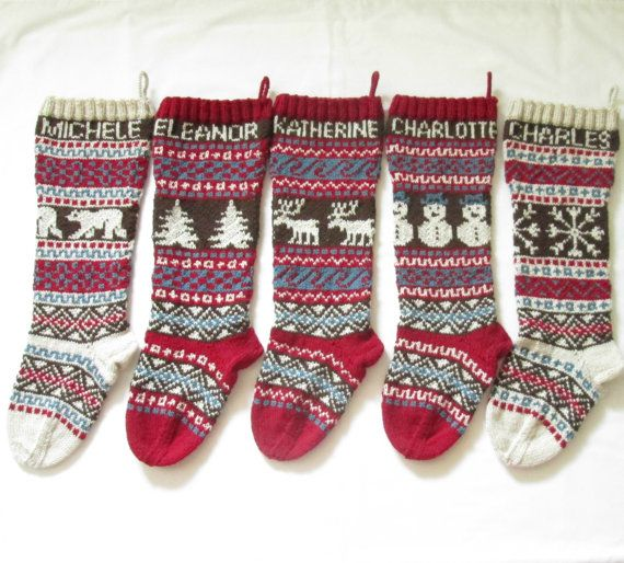 For 2015: Personalized Knitted Christmas Stockings Set of 5 - Hand ...
