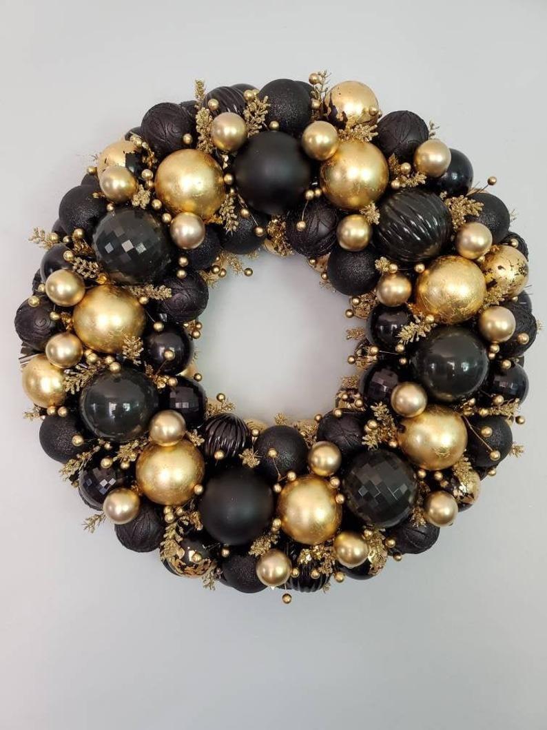 Christmas Wreath2021gold And Black Wreathwreaths For Front Etsy Black Wreath Christmas Wreaths Silver Wreath