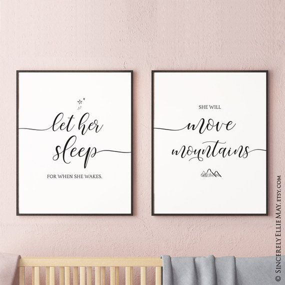 b01a21c18de15 Let Her Sleep For When She Wakes - Baby Girl Nursery Quote YOU PRINT ...