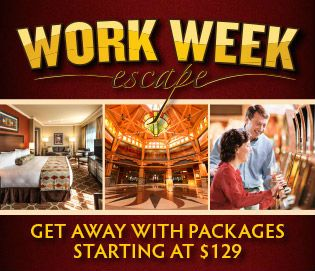 PACKAGES STARTING AT $129! Relax at Four Winds Hotel Sunday - Thursday w/our Work Week Escape, w/packages starting at just $129. With 4 packages to choose from, how you plan your escape is up to you!  Book your stay at Four Winds Hotel Sunday – Thursday and when you check in, you'll get your choice of one of the our four bonus offers. Click here for details!