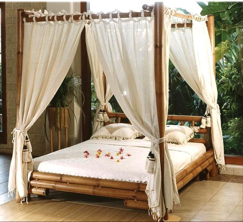 white-curtain-canopy-beds-with-diy-wood-bamboo- & white-curtain-canopy-beds-with-diy-wood-bamboo-material | Bedroom ...