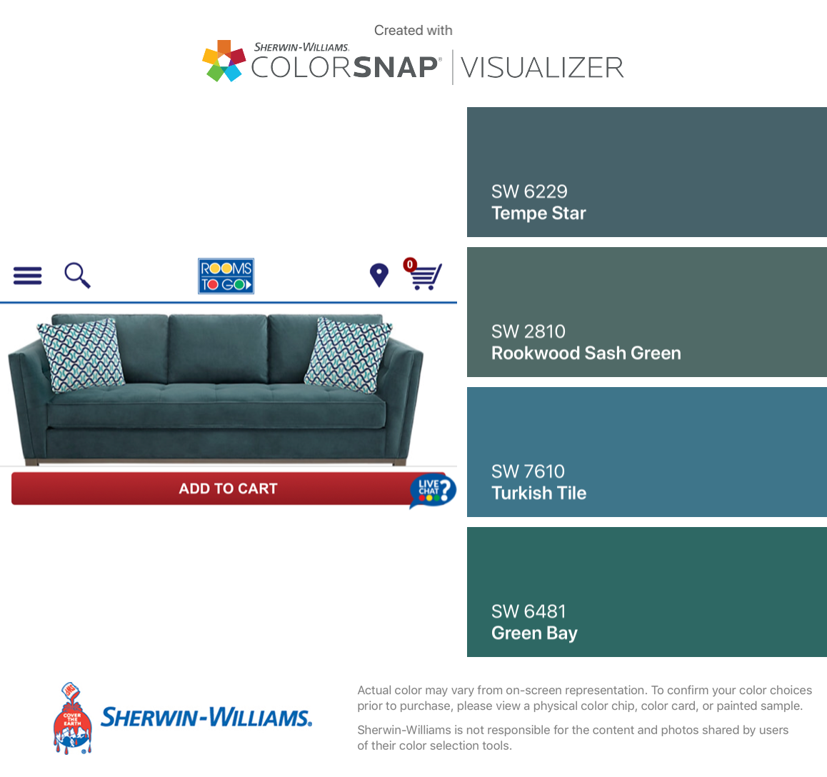 I Found These Colors With Colorsnap Visualizer For Iphone By Sherwin Williams Tempe Star Sw 6229 Rookwood Sash Green Turkish Tile Sherwin Williams Sherwin