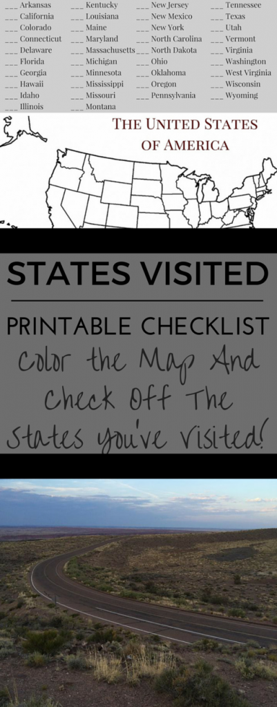 Printable States Visited Checklist Share Camping Ideas Pinterest - State check off map