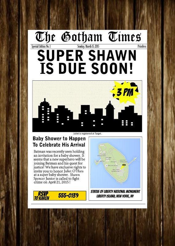 Batman Baby Shower Super Hero Baby Shower Invite Invitation Newspaper