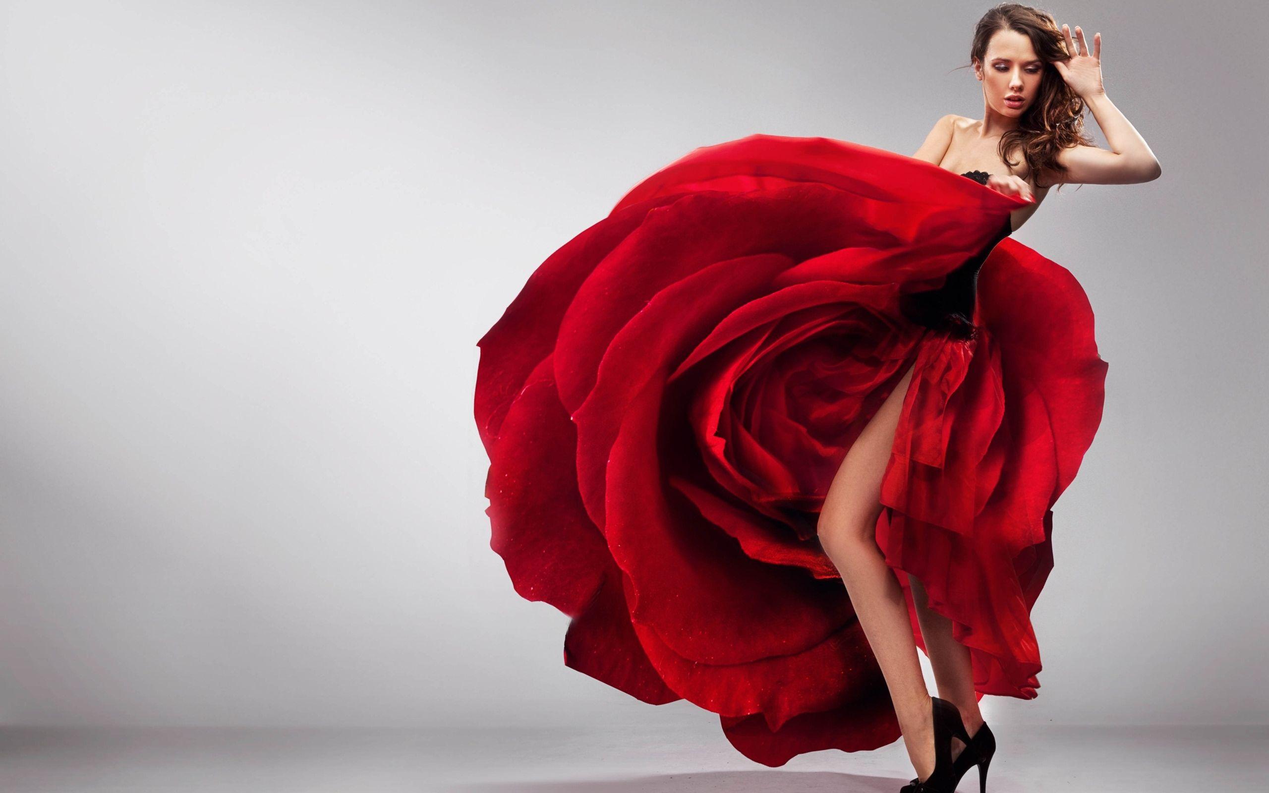 壁紙画像 薔薇のドレス Dress Of The Rose 赤いドレス バラの