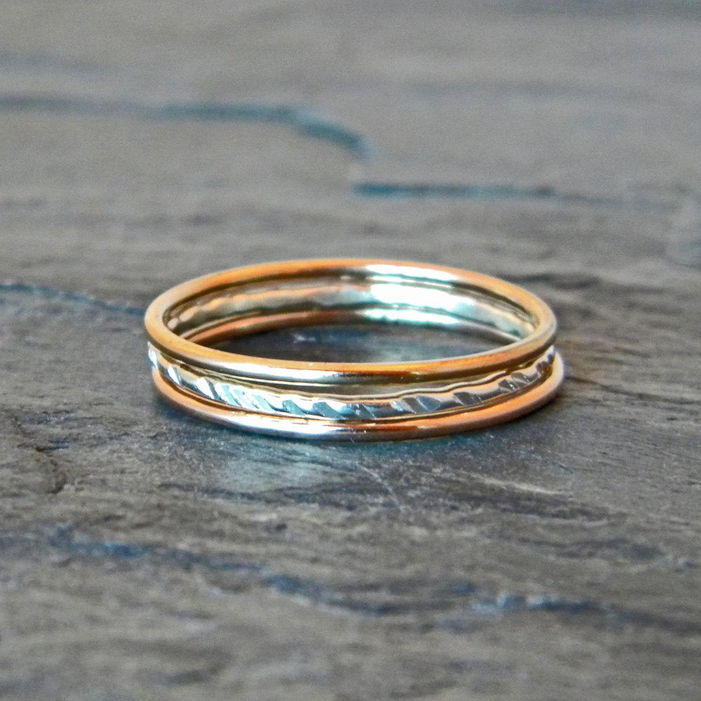 Silver and Gold Ring - Mixed Metal Stacking Rings - Gold Thumb ...