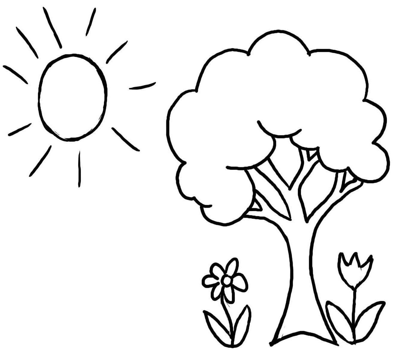 Pictures Welcome Spring Tree Coloring Pages For Kids Tree Coloring Page For Toddlers