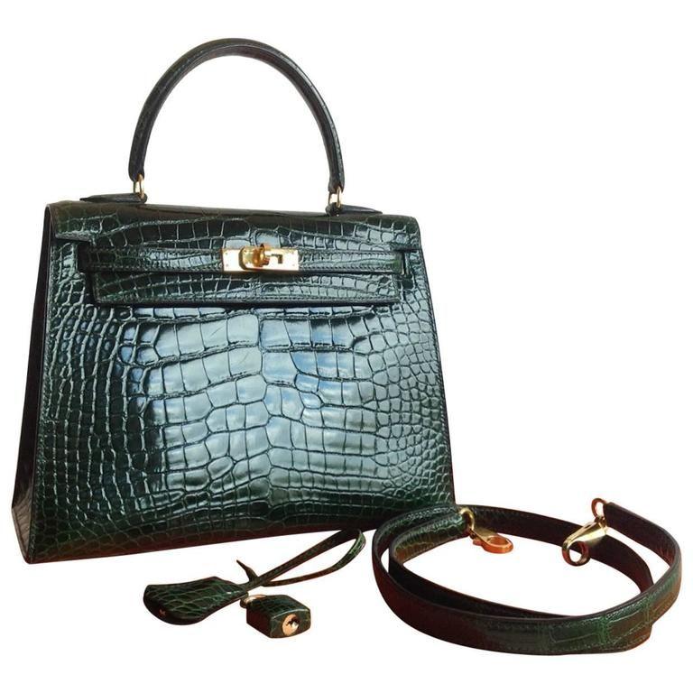 7f3c45c39d29 ... promo code hermes 25 cm shiny vert fonce alligator sellier kelly bag  4a49f 749ac
