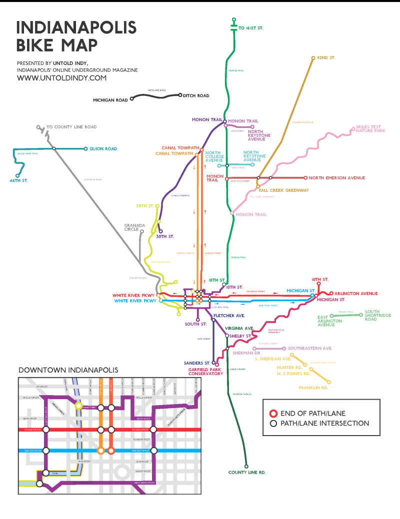 Subway Map Bike.An Indianapolis Bike Map Done In The Style Of The London Underground