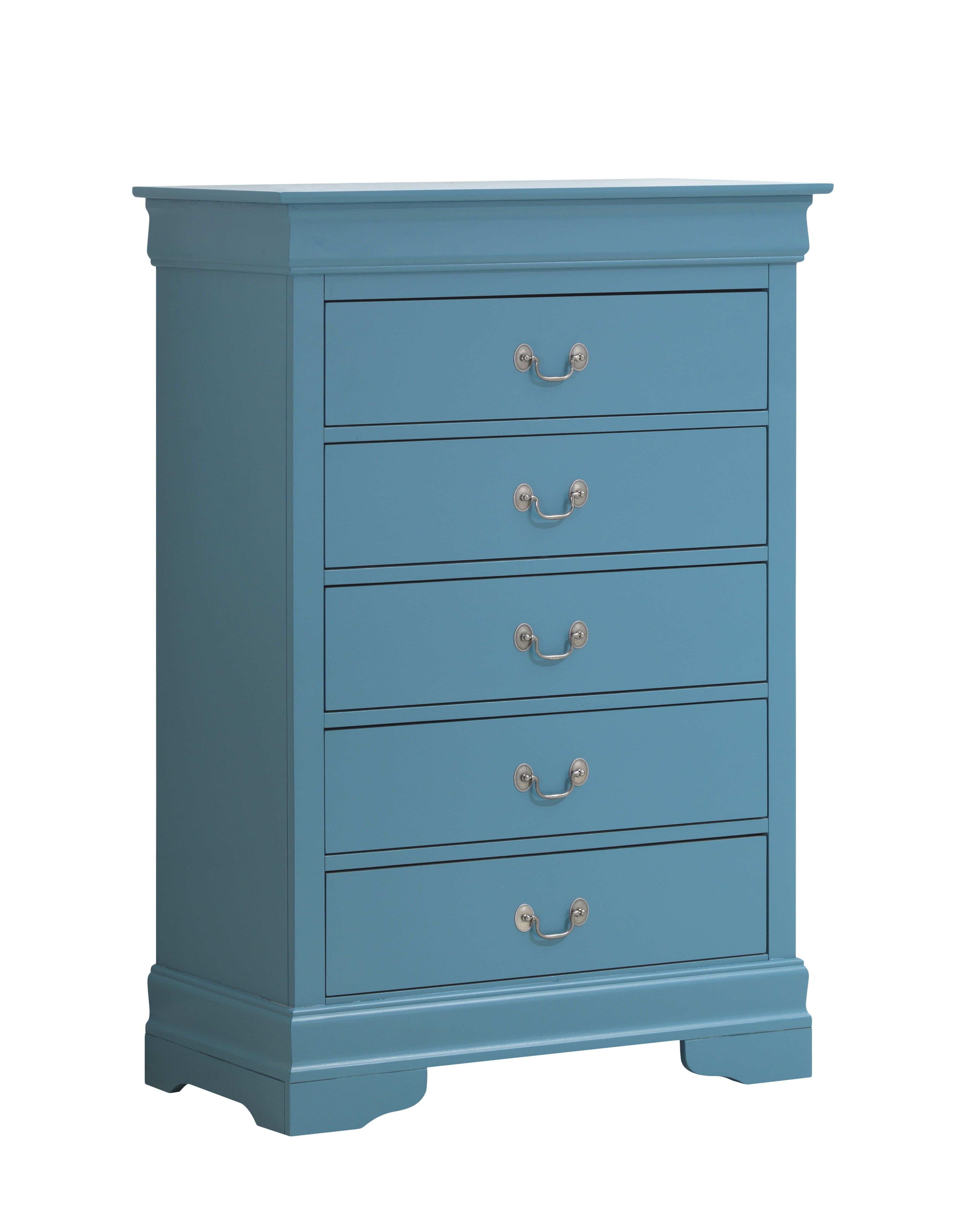 Teal Wood 5 Drawer Chest With Silver Curved Metal Handles | Hot ...