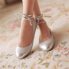 2017 Spring And Summer Fashion Ballet Shoes Flat Heel Single Silver Wedding Cute Bridesmaid Women S 12 14
