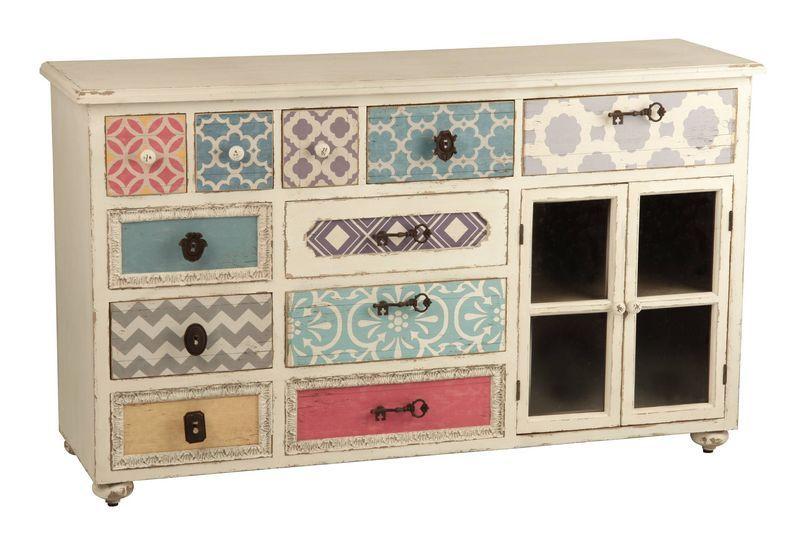 Aparador con papeles pintados aguadel mueble de colores - Papeles pintados para muebles ...