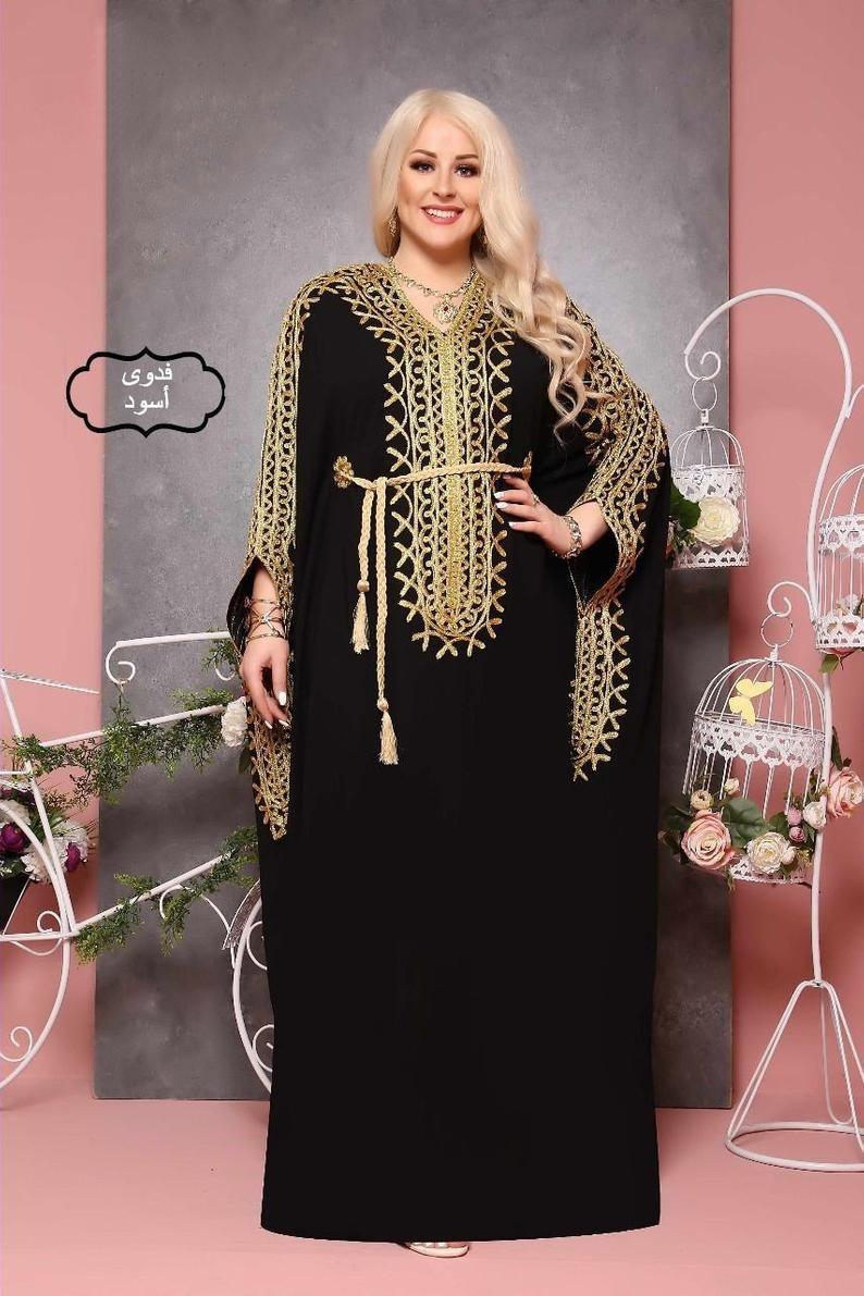 One Size Kaftans For Women Embroidered Kaftan Abaya Etsy In 2021 Dresses Abaya Designs Abaya Dress