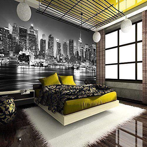 NEW YORK CITY AT NIGHT SKYLINE VIEW BLACK & WHITE