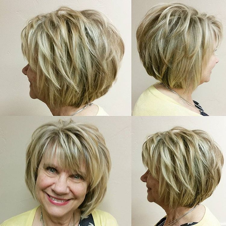 Cute Little Lady And Her Fab Bob We Put In Blonde And Carmel To Brighten Her Up For Spring Short Hair With Layers Layered Hair With Bangs Thick Hair Styles