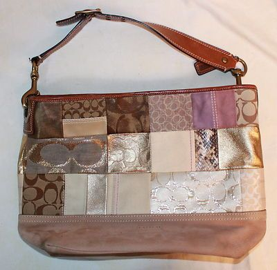 6a6734606420 Authentic COACH Patchwork Leather Large Tote Hand Bag Shoulderbag Purse    10003