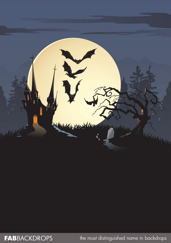 FabVinyl Savage House Halloween Backdrop Halloween backdrop - halloween backdrop