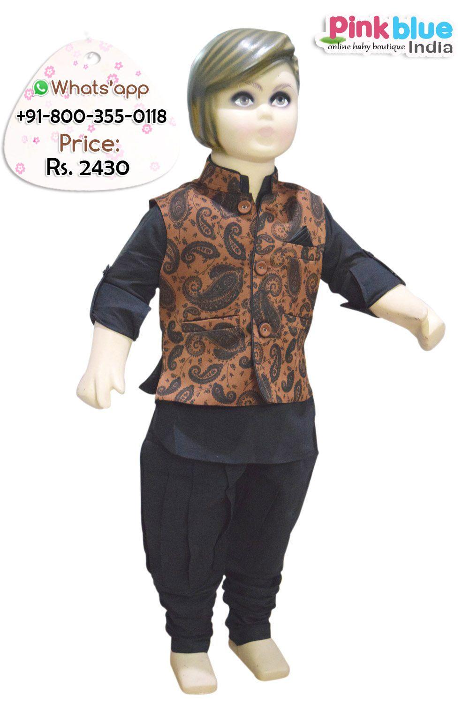 bdfd64d50 Shop online beautiful designer black color ethnic kurta pajama set with  Fashionable Jacket for Eid and festivals.