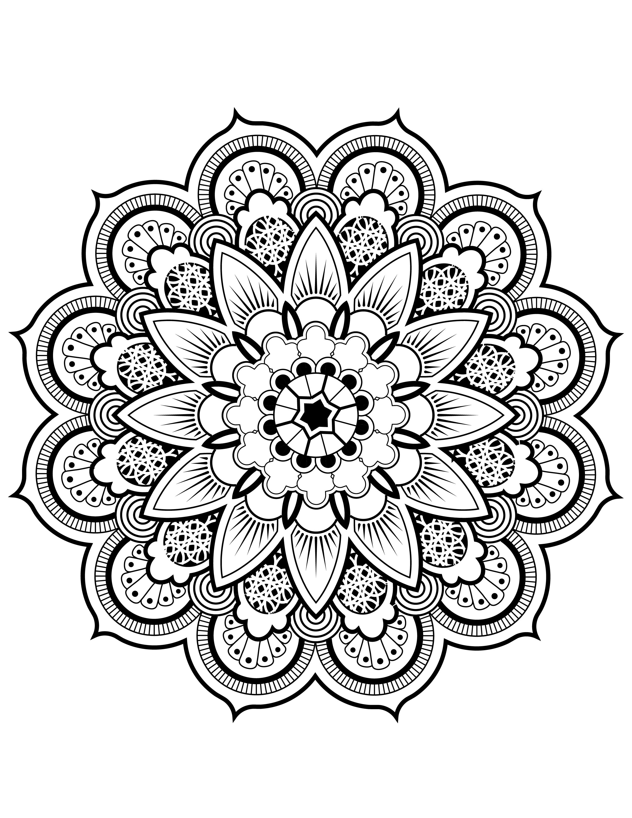 Free adult coloring, classic Queen mandala | Mandalas | Pinterest ...