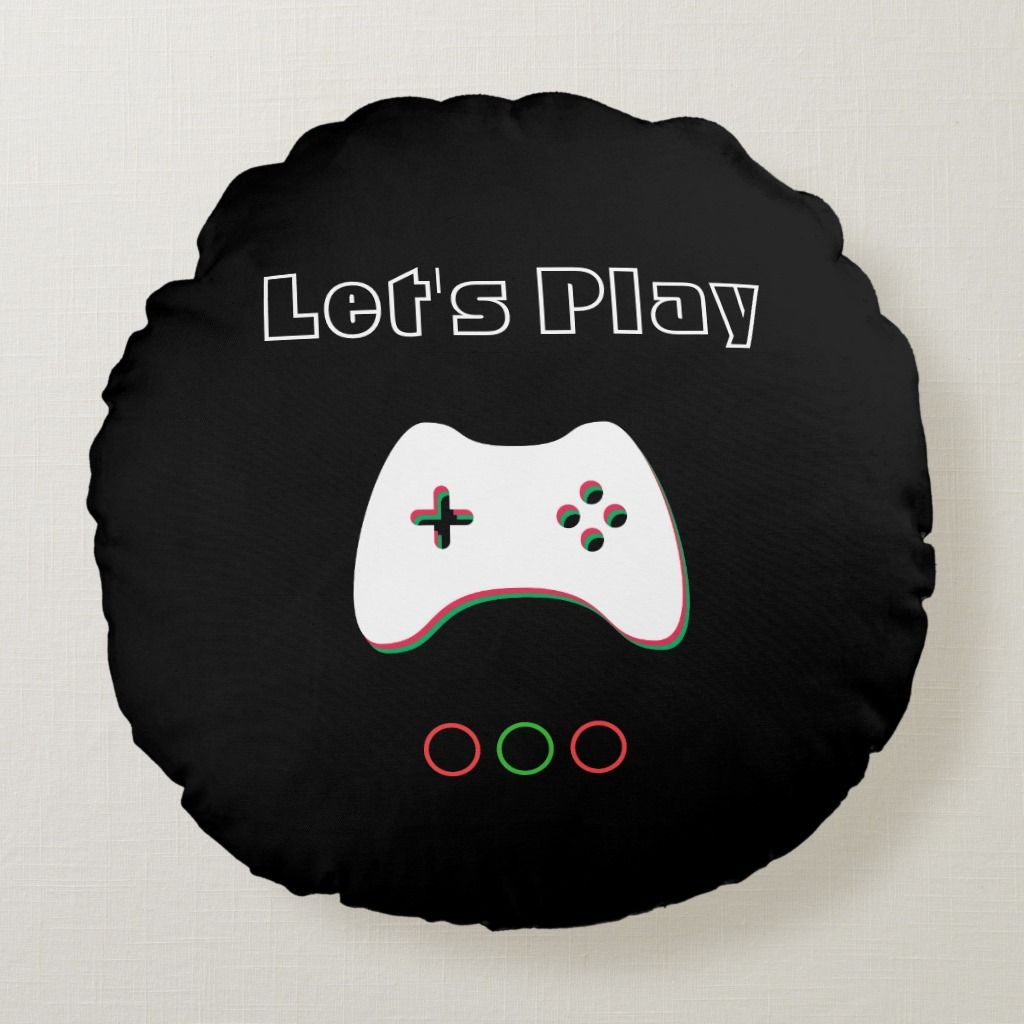 Video Game Controller, Let's Play, Red & Green Art Round Pillow