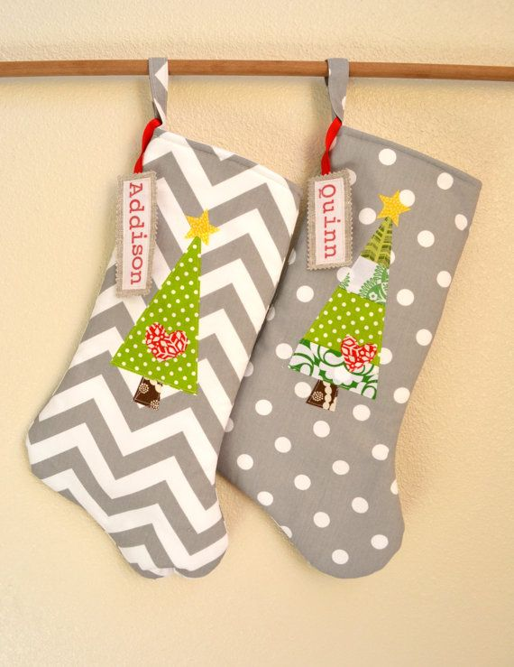 Personalized Fabric Name Tags for Stockings hand by