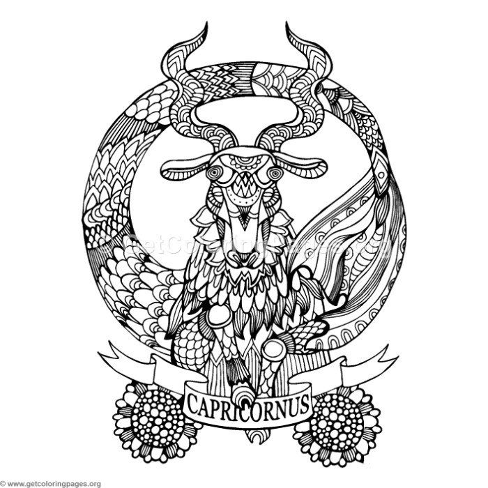 Free Download Capricorn Horoscope Sign Coloring Pages | creative ...