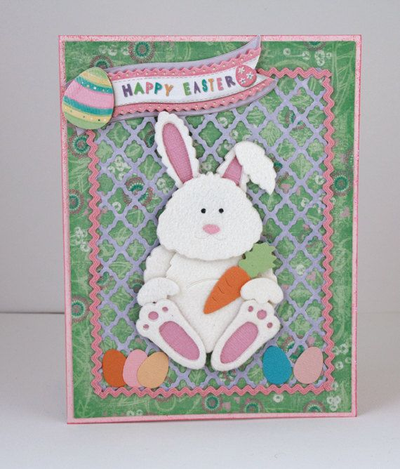 Easter Handmade Card Happy Easter Card Easter Bunny Green