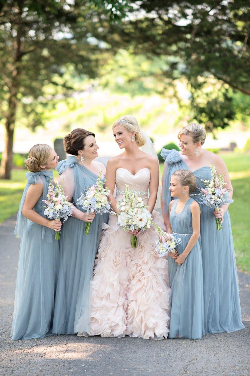 Romantic Blush And Blue Nashville Wedding Dusty Blue