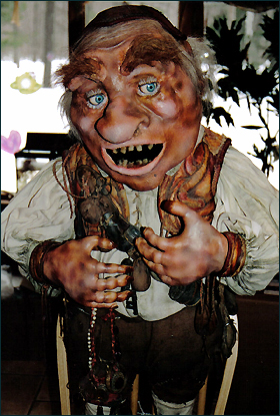 "Hoggle from the Jim Henson movie ""Labyrinth"" at home in Scottsboro's Unclaimed Baggage Center."