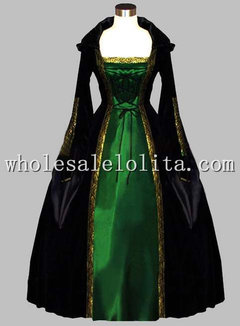 Gothic Black And Green Euro Court Dress Witch
