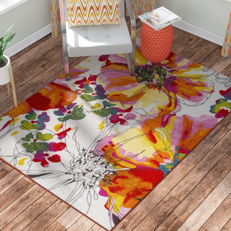 Dicha Floral Tufted White Pink Yellow Area Rug Yellow Area Rugs Vibrant Rugs Area Rugs