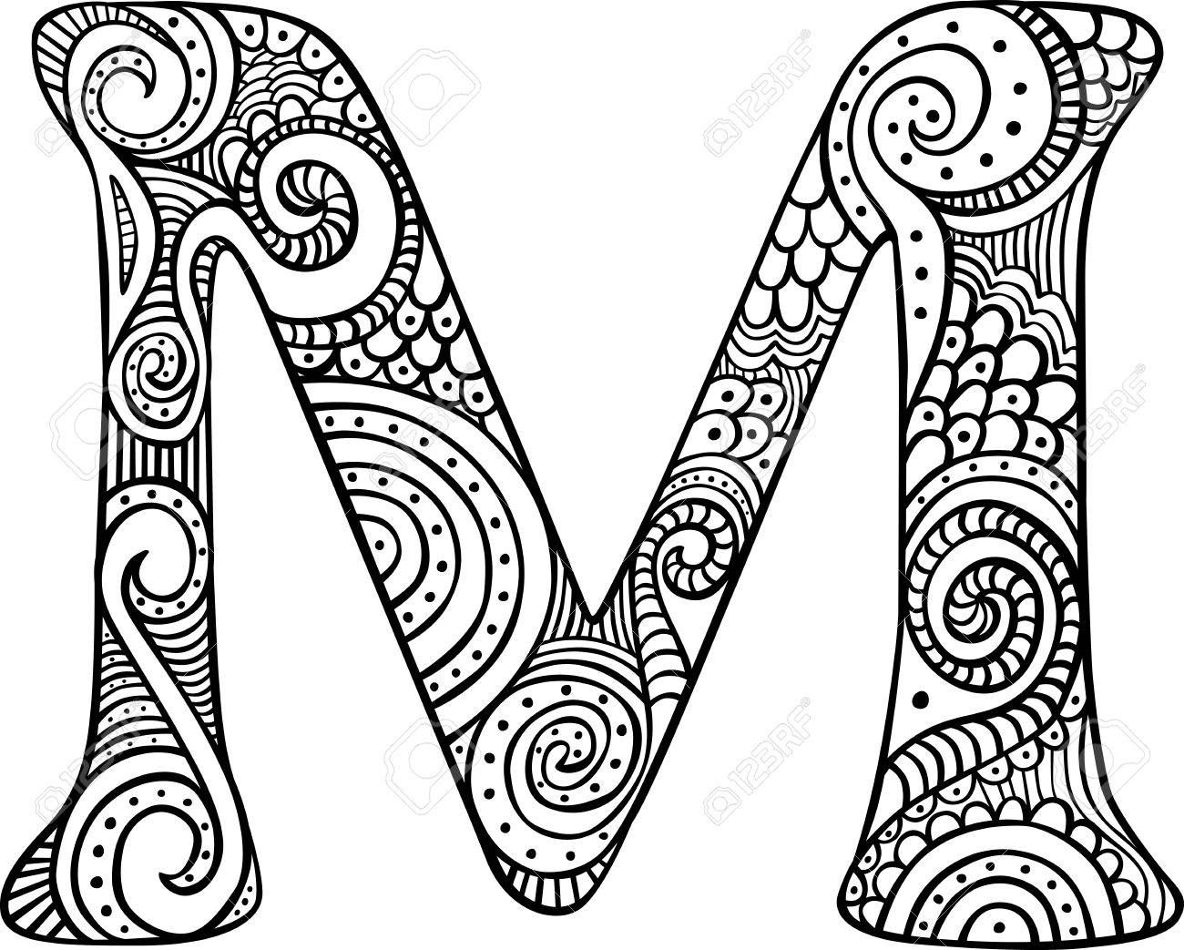 Hand drawn capital letter m in black coloring sheet for adults stock vector 84934262