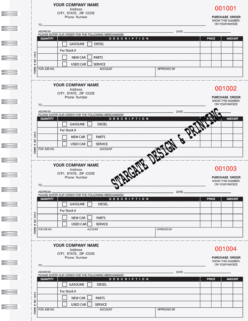 Part Fuel Purchase Order Book  Business Forms
