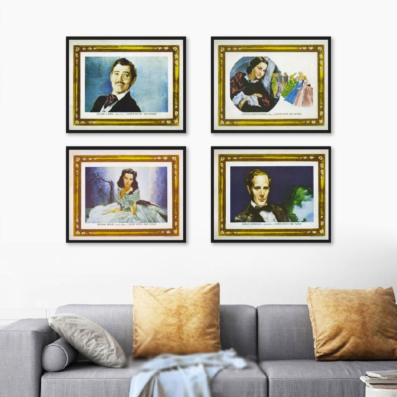 Classic Movie Posters Romantic Film Prints Gone With the Wind Retro Cinema Wall Art Poster Canvas Painting Home Theater Decor