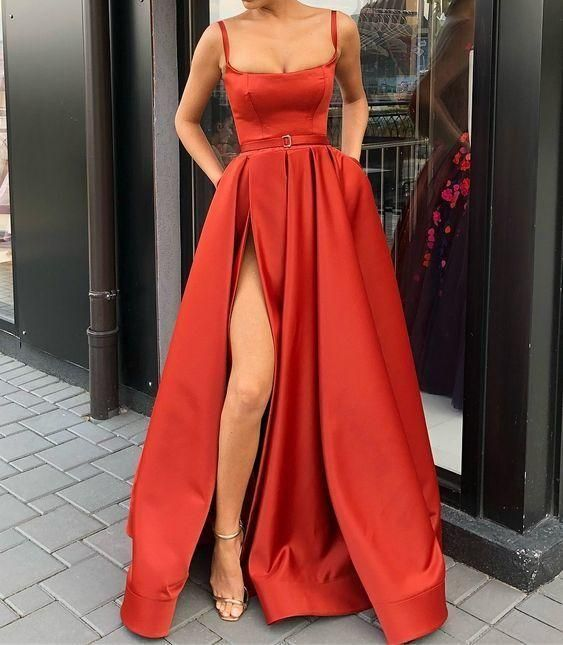 Spaghetti Straps Red Pageant Dress Prom Dress with Slit - Red pageant dress, Prom dresses sleeveless, Red prom dress, Slit dress prom, A line prom dresses, Fancy dresses - Spaghetti Straps Red Pageant Dress Prom Dress with Slit