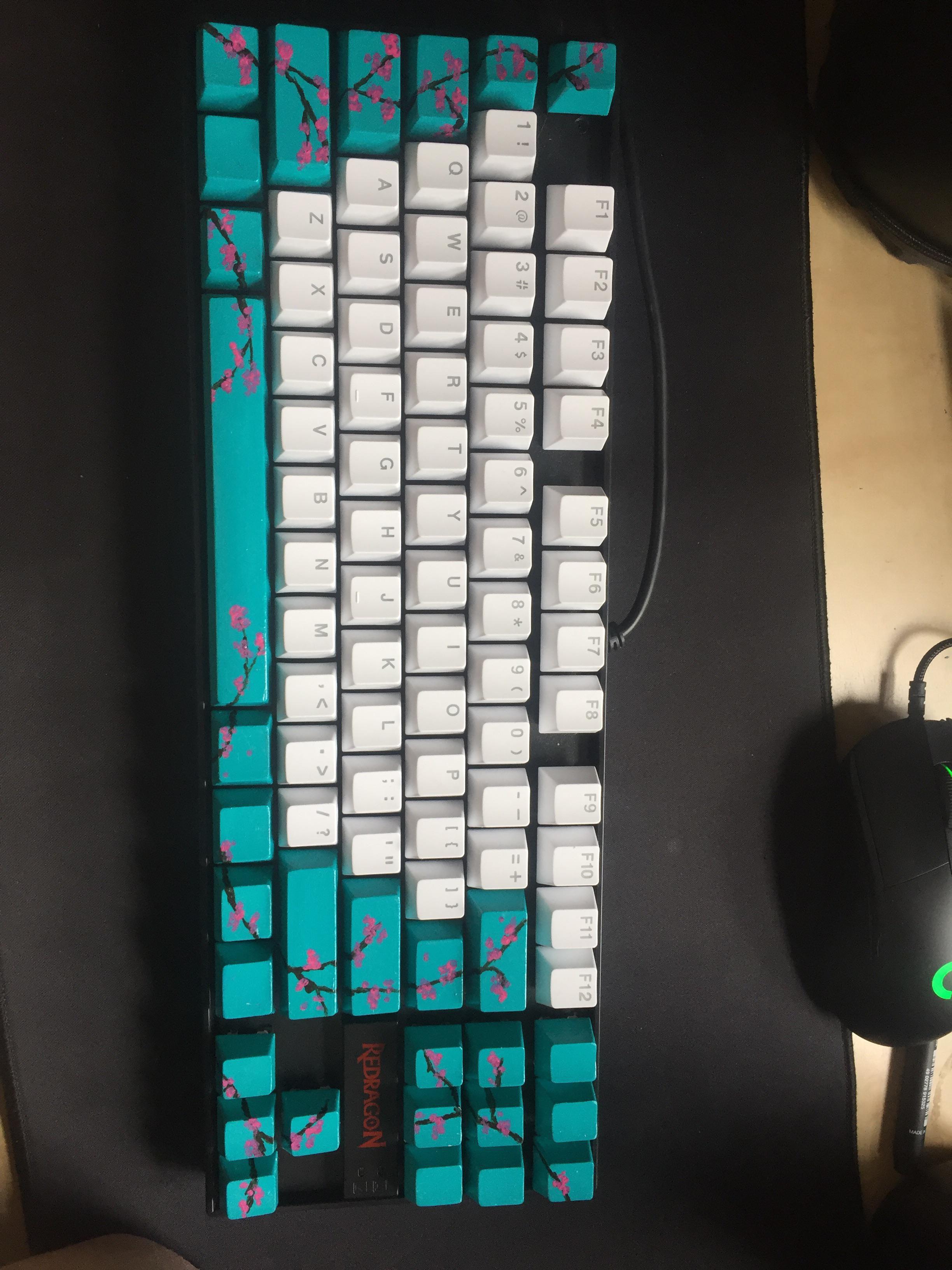Painting Keyboard Keys : painting, keyboard, Finally, Around, Painting, Myself, Custom, Keycaps!, Gaming, Setup,, Keyboard