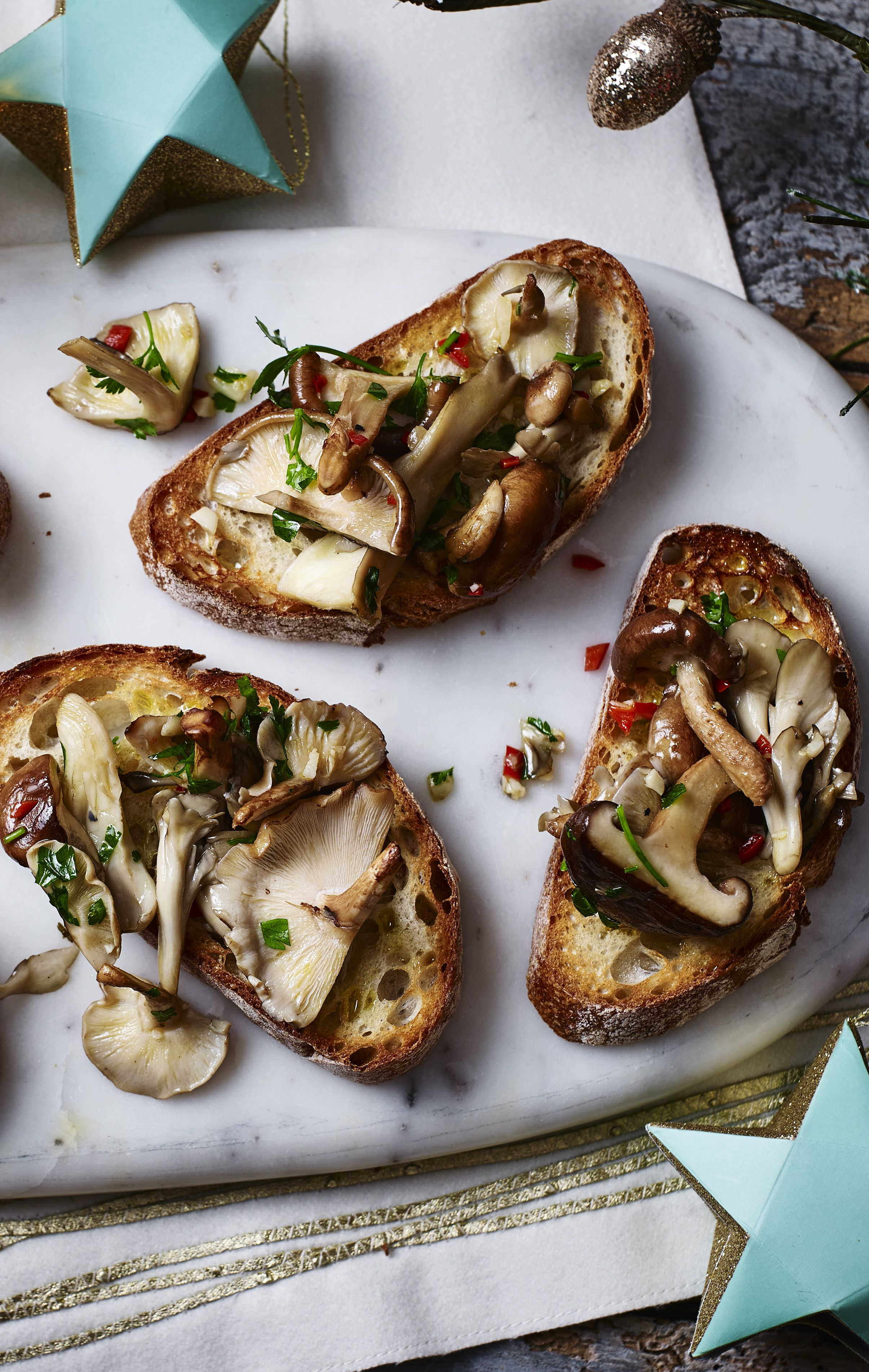 Christmas Starters.Mushroom Crostini