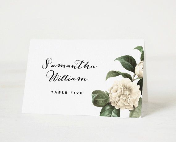 Printable place card template, Printable place card, Floral place - wedding card template