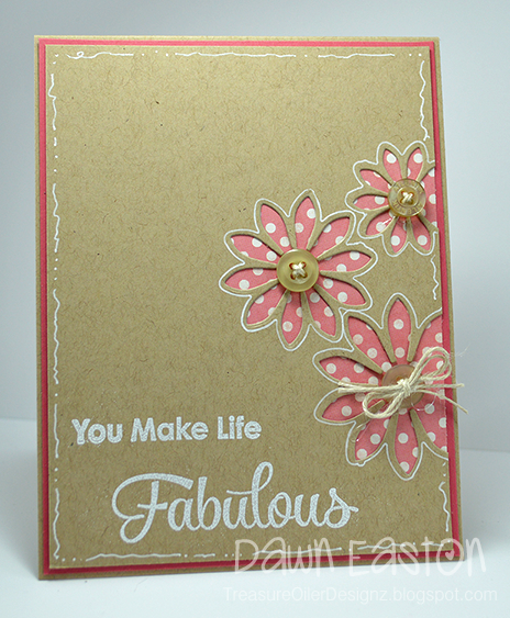 handmade card from Treasure Oiler Designz ... kraft with pink and white ... luv the white gel pen border and outlining of the the flowers ... negative cut daisies reveal pink polka dot paper ... buttton flower centers ... great card!
