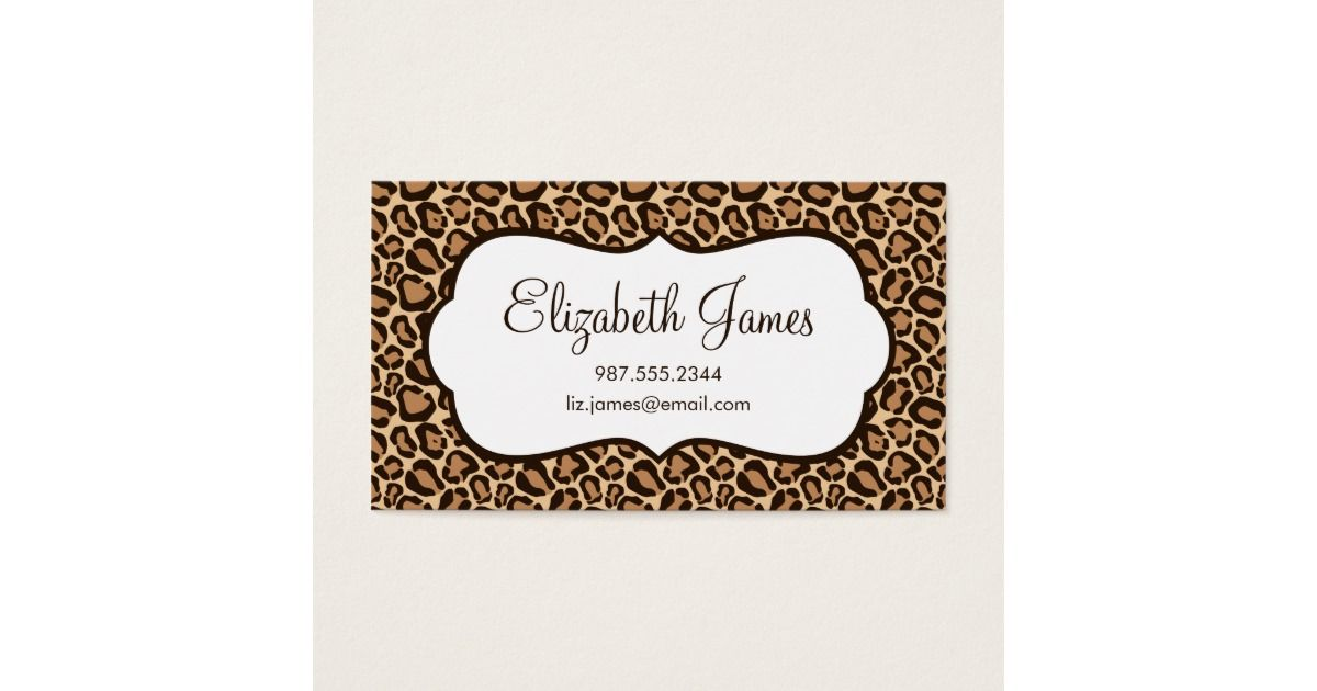 Girly Leopard Print Business Card   Business
