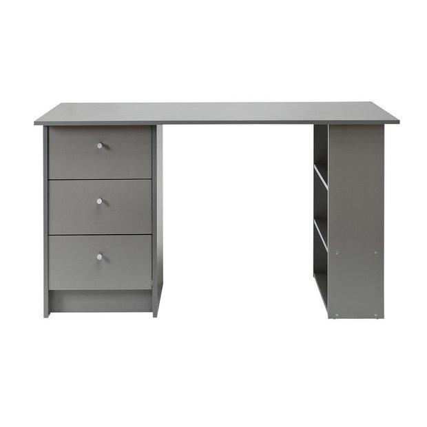 Buy Argos Home Malibu 3 Drawer Office Desk Grey Desks Argos Grey Office Desk Grey Desk Small Grey Desk