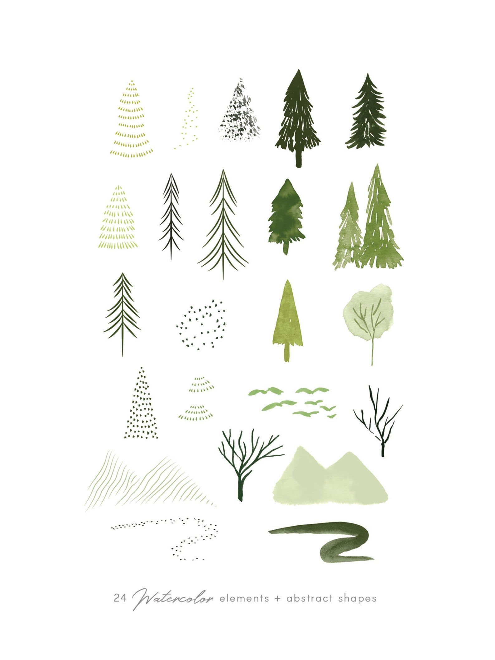 Watercolor forest trees clipart set, abstract wood
