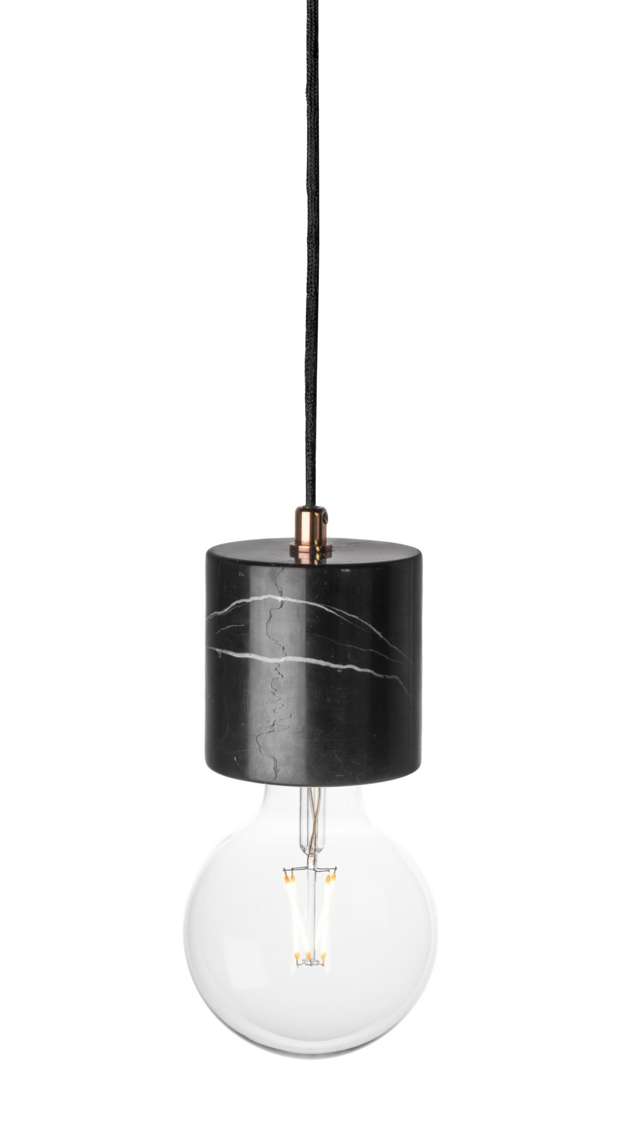 black bare bulb marble pendant from rove concepts kure collection