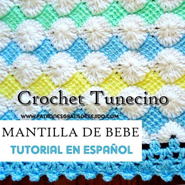 Como tejer cobija bebe crochet tunecino tutorial - Hacer una manta de ganchillo ...