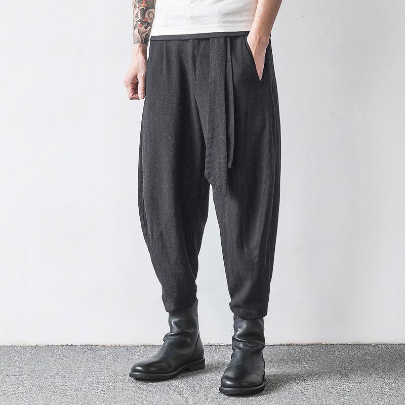 6fb6a72da0 Mens Casual Baggy 100% Cotton Harem Pants Solid Color Loose Wide Leg Pants  Online-NewChic Mobile