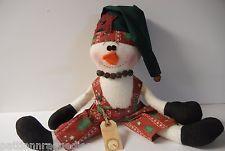 "Primitive Cloth Snowman Doll ""NIPPY ""CHRISTMAS SNOWMAN BOY Handmade FOLK ART"