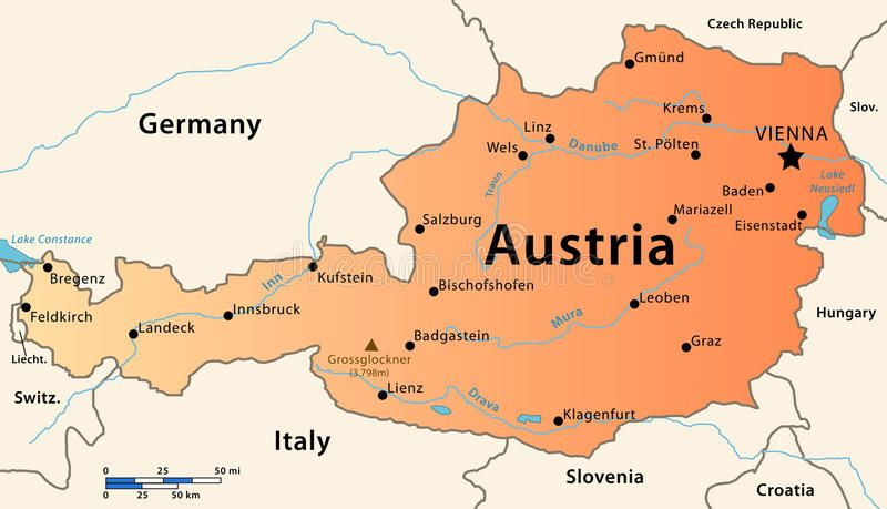 map of austria with cities Austria Map Illustration Of The Map Of Austria Featuring Main map of austria with cities
