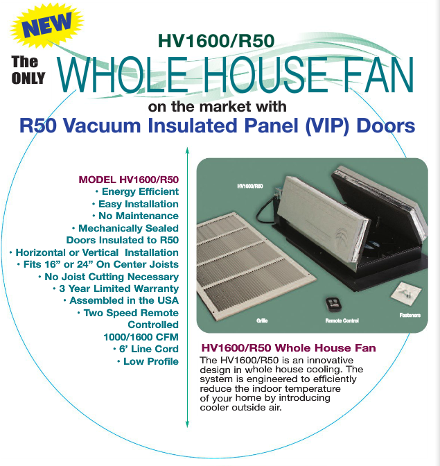 Hv1600 Whole House Fan With R50 Vacuum Insulated Panel Vip Doors